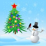 Decorated christmas tree and snow man with a bullfinch Stock Images