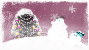 Decorated Christmas Tree and a Snowman. Can be used as video greeting card - a lot of free space for your congratulations and other texts. Hand drawn loop able stock video footage