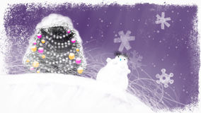 Decorated Christmas Tree and a Snowman. Can be used as video greeting card - a lot of free space for your congratulations and other texts. Hand drawn loop able stock footage