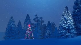 Decorated christmas tree among snowy fir forest at night. Dreamlike winter scenery. Decorated christmas tree with red star on its top among snow-covered fir Royalty Free Stock Photography