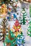 Decorated Christmas tree in a snowy park Stock Photography