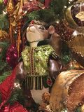 Decorated Christmas Tree with Squirrel. A jaunty looking squirrel sporting a velvet cap cavorts in tree branches amid Christmas decorations of Christmas tree Royalty Free Stock Photos