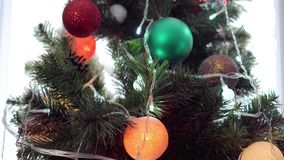 Decorated christmas tree stock video