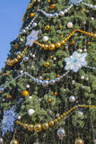 Decorated Christmas tree at street Stock Image