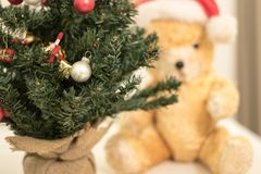 Decorated Christmas Tree with Teddy Bear in the background. Close up photography of detail of a Christmas Tree decorated with red and white Christmas ornaments Royalty Free Stock Image