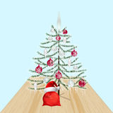 Decorated Christmas tree with toys. New Year decorations. Gifts from Santa Claus. illustration Stock Photography