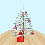 Decorated Christmas tree with toys. New Year decorations. Gifts from Santa Claus.  Stock Photography