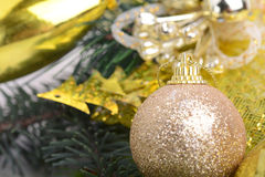 Decorated Christmas tree with various gifts. Christmas and New Year celebration. Holiday Christmas scene Stock Photos