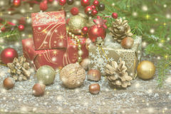 Decorated Christmas tree with various gifts.Toned. Stock Image