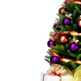 Decorated Christmas tree on white background.  Royalty Free Stock Photos