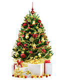 Decorated Christmas tree on white background Stock Photography