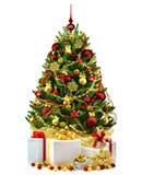 Decorated Christmas tree on white background.  Royalty Free Stock Photo
