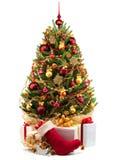 Decorated Christmas tree on white background.  Stock Photo