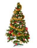 Decorated Christmas tree on white background. Card template Royalty Free Stock Photo