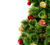 Decorated Christmas tree on white background. Card template Stock Images