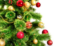 Decorated Christmas tree on white background. Card template Royalty Free Stock Images