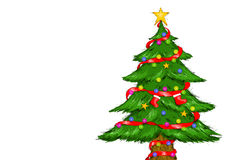 Decorated Christmas Tree White Background. Digital Drawing Illustration of Christmas Tree Merry Christmas Stock Photos