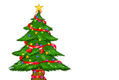 Decorated Christmas Tree White Background. Digital Drawing Illustration of Christmas Tree Merry Christmas Royalty Free Stock Image