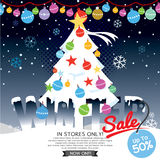 Decorated Christmas Tree Winter Concept Up To 50 Percent Sale Template. Decorated Christmas Tree Winter Concept Up To 50 Percent Sale Template Vector Stock Images