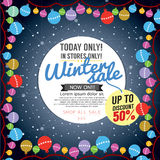 Decorated Christmas Tree Winter Concept Up To 50 Percent Sale Template. Decorated Christmas Tree Winter Concept Up To 50 Percent Sale Template Vector stock illustration