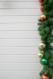 Decorated Christmas tree on wooden background Stock Photo