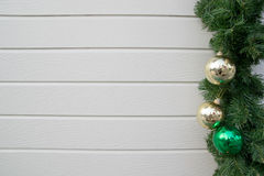 Decorated Christmas tree on wooden background Stock Photography
