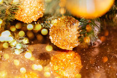 Decorated christmas tree with yellow balls Stock Image