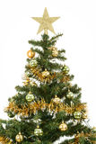 Decorated christmas tree with yellow and green balls Stock Image