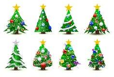 Decorated Christmas trees stock illustration