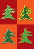 Decorated christmas trees Stock Photo