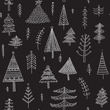 Decorated christmas trees seamless pattern dark Royalty Free Stock Photos