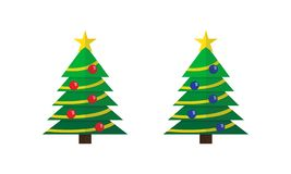 Decorated Christmas trees with star and balls set vector illustration