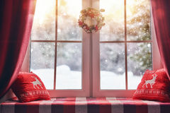 Decorated for Christmas window Stock Photo