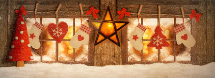 Decorated for Christmas windows Royalty Free Stock Photos