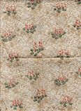 Decorated Christmas wrapping paper. Vintage shabby background. Stock Photos