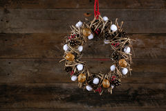 Decorated Christmas Wreath Pine Cones Cotton Buds and Walnuts Ol Royalty Free Stock Photography