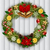Decorated Christmas wreath. Vector stock illustration