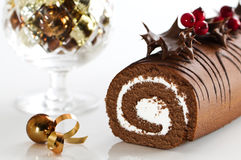 Decorated Christmas Yule Log stock images