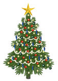 Decorated christmastree for christmas. Isolated on white Stock Photography