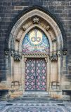 Decorated church entrance in Prague Vysehrad. Decorated entrance of St. Peter and Paul church in Vysehrad, historic fort located in the city of Prague, Czech Stock Photos