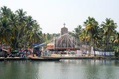 Decorated church near Kollam on Kerala backwaters Stock Images