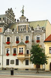 Decorated city hall. Decorated facade on the city hall. Kolin. Czech Republic stock image