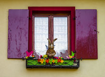Decorated classic alsacien windows in old house Royalty Free Stock Images