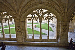 Decorated cloister arches in the Jerónimos Monastery Stock Photography