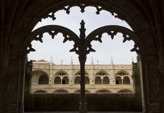 Decorated cloister arches in Jeronimos monastery Stock Photography
