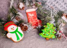 Decorated colored Christmas gingerbread spruce branches cones royalty free stock photos
