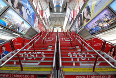 Decorated and colorful advertisement at BTS Siam Station Royalty Free Stock Photography