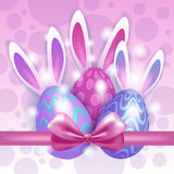 Decorated Colorful Eggs Rabbit Easter Holiday Symbols Greeting Card Stock Images