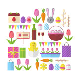 Decorated Colorful Eggs Rabbit Easter Holiday Symbols Icon Set Greeting Card Stock Photo