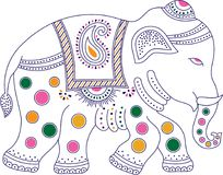 Decorated colorful indian elephant. For wall decoration Royalty Free Stock Photography